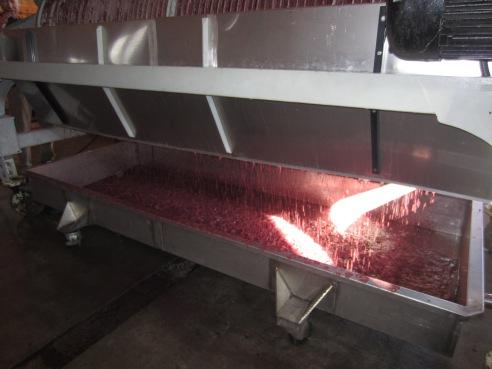 It's raining wine! The pressed liquids drain into a pan beneath the press.