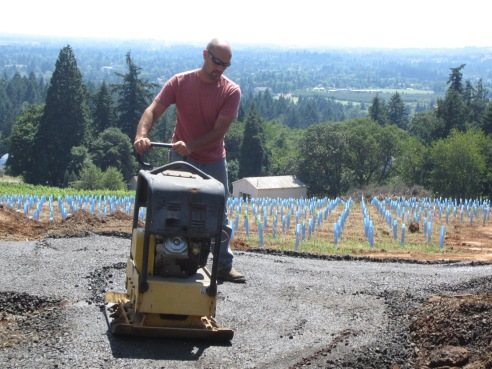 Joe and the compactor, throwing down on some 3/4-gravel.