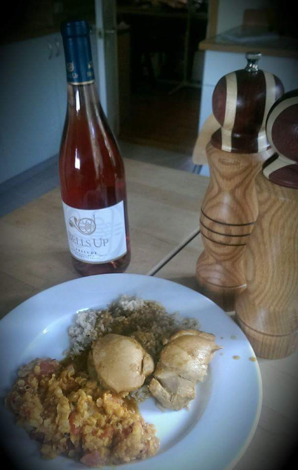 Another #perfectpairing of Indian food with Prelude Rosé of Pinot Noir. #bellsupmoment for us: this was at the table of another local winemaker!