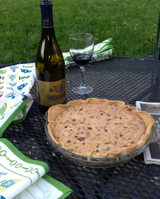 "Leigh & Jim served Bells Up Villanelle Reserve Pinot Noir with a chocolate chip & walnut ""Kentucky"" pie to guests over Derby Weekend. #bellsupmoment"