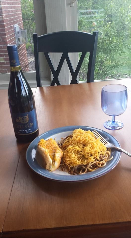 Pairing a three-way (and a coney) with Firebird on #FirebirdFriday for Scott C.'s #bellsupmoment.