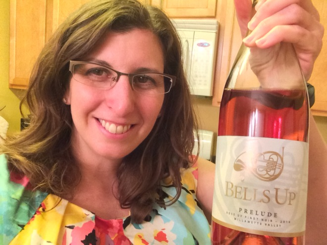 """Shana R., Fanfare Club Founding Member, and her #bellsupmoment with Prelude Rosé of Pinot Noir. """"Good stuff!"""" she says."""