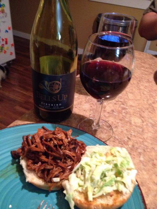 A southern style BBQ pulled pork sammich and Firebird Syrah make for an exceptional #bellsupmoment. Thanks Cliff & Tina!