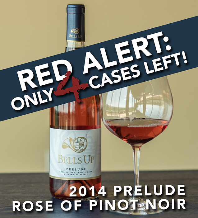 Just 4 cases remaining of Prelude Rosé of Pinot Noir…