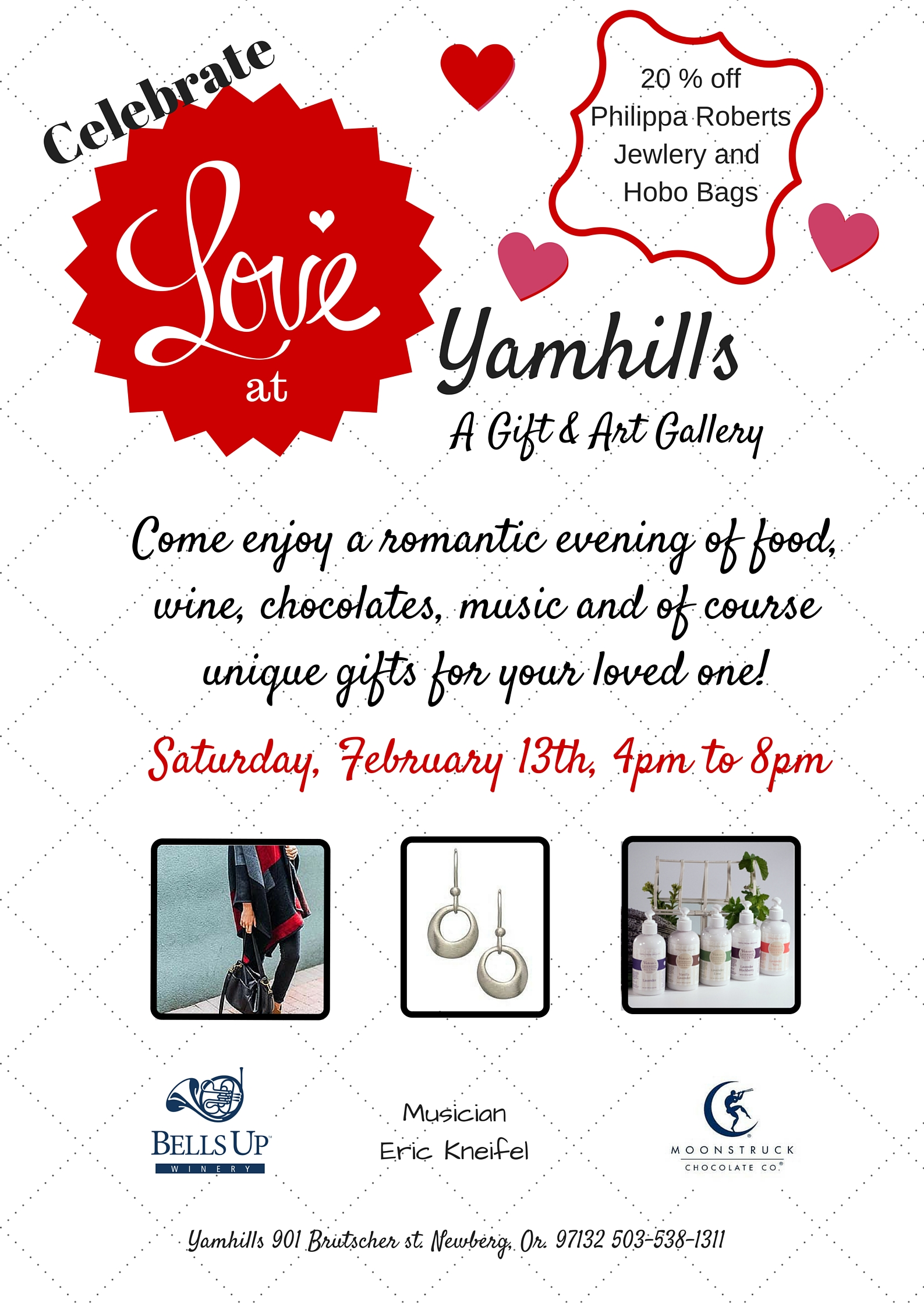 Celebrate Love with Bells Up & Yamhills Gallery, Saturday, Feb. 13